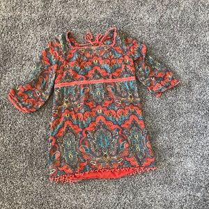 Free People Paisley Tunic Blouse Cut Outs